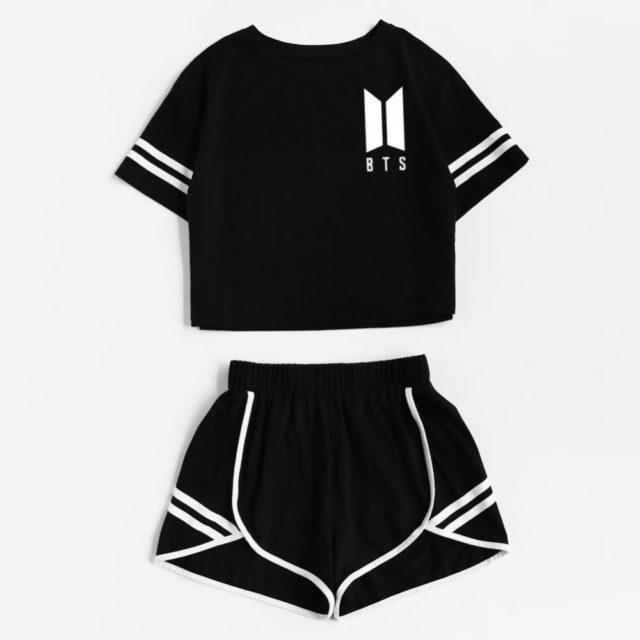 BTS Women's 2-Piece Crop Top w/ Shorts Tracksuit