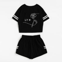 BTS Women's 2-Piece Crop Top w/ Shorts Tracksuit